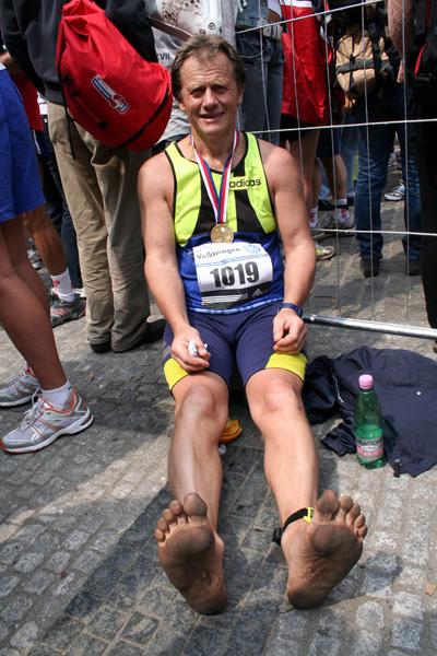 J.Pataky v cíli maratónu